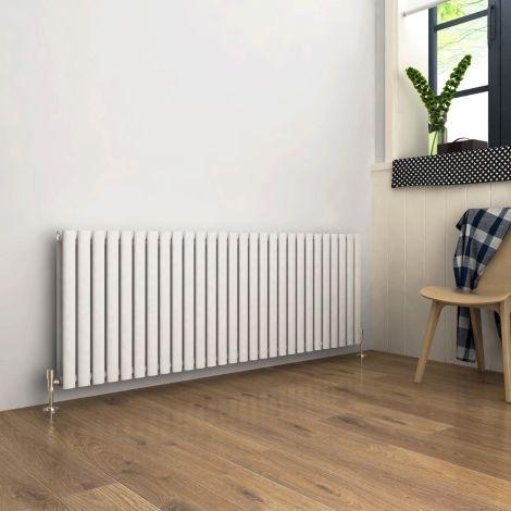 ELEGANT Double Flat Panel 600 x 1416mm Modern Design White Heated Rails Radiators