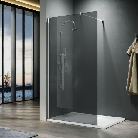 ELEGANT 1000mm Walk-In Shower Panel Smoked Glass 8mm Easy Clean Nano Glass Shower Screen