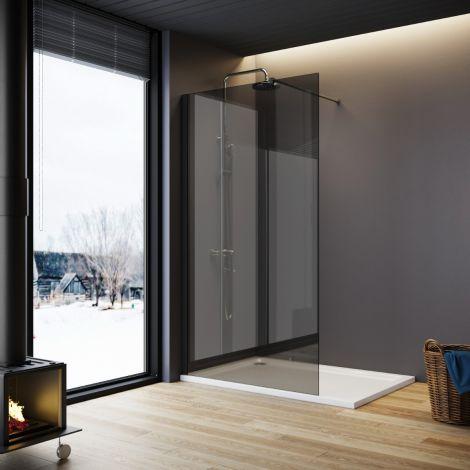 ELEGANT 900mm Walk-In Shower Panel Smoked Glass 8mm Easy Clean Nano Glass Shower Screen