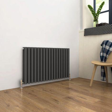 ELEGANT Double Flat Panel 600 x 1003mm Modern Design Anthracite Heated Rails Radiators