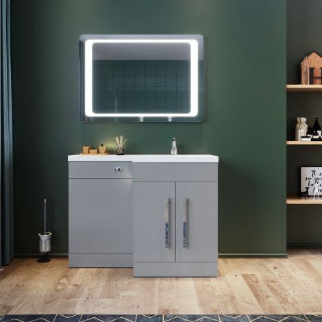 Elegant Right  Bathroom Vanity Basin Vanity Sink Unit  Grey 1100x840x450mm