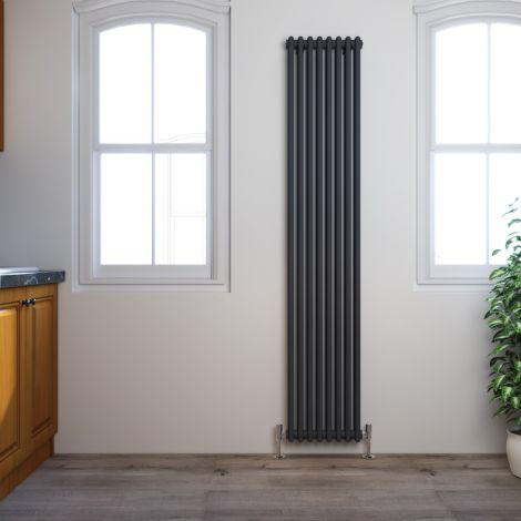 Traditional Elegant 1800x380mm Anthracite 2 Column Victorian Grey Vertical Radiator