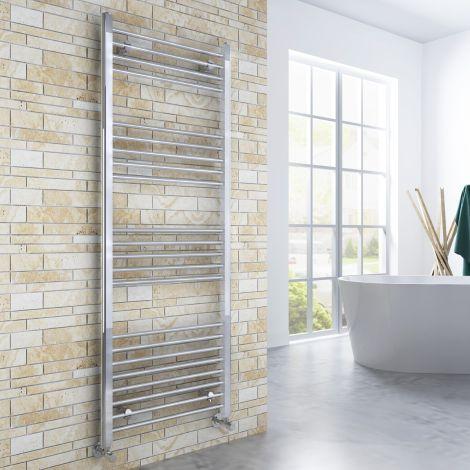 ELEGANT 1600x600mm  Straight Chrome Heated Towel Rail Rad Radiator Bathroom Central Heating
