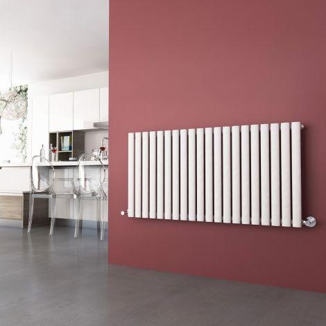 ELEGANT 600 x 1190mm Horizontal Designer Oval Column Radiators White Single/Double Central Heating Panel