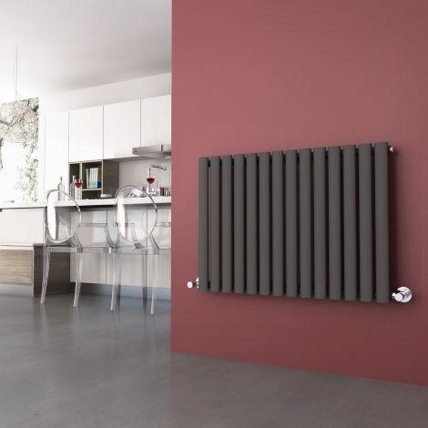 ELEGANT 600 x 830mm Horizontal Designer Oval Column Radiators Anthracite Single Central Heating Panel
