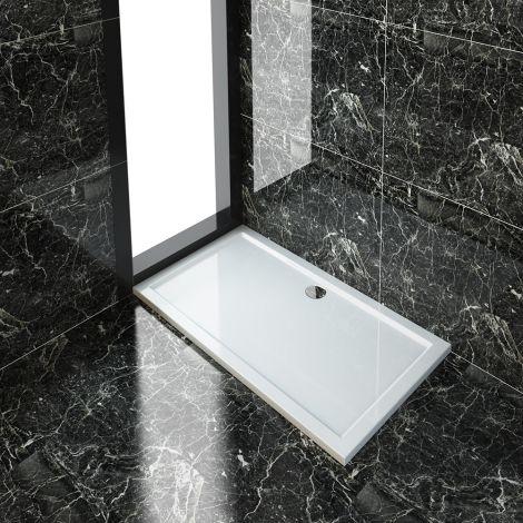 ELEGANT 1300x800x40mm Ultra- Slim Stone Resin Rectangle Shower Tray + 90mm Waste