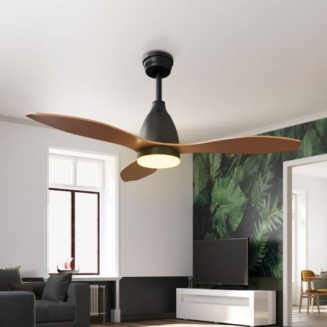 ELEGANT Modern 3 Wooden color Blade 48 Inch DC Motor Ceiling Fan with Light & Remote - 3 Color Temperature Switch -  3 Timer Control - 5 fan speeds