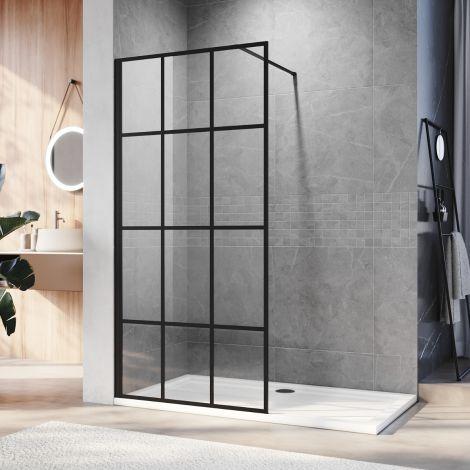 ELEGANT 1000x1850 mm Walk in Wet Room Shower Enclosure Shower Screen Panel Matt black