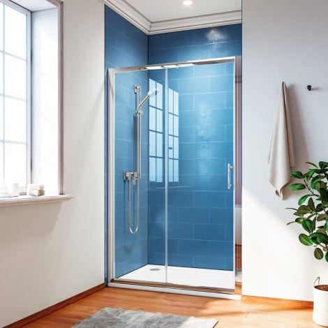 ELEGANT 1700mm Bathroom Sliding Shower Door 6mm Tempered Glass Shower Screen
