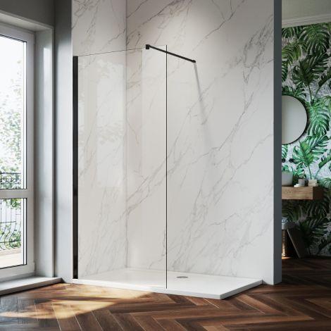 ELEGANT 900mm Walk-In Shower Panel Wetroom 8mm Easy Clean Nano Glass Shower Screen  (Black Fittings)