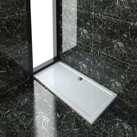 ELEGANT 1700x760x40mm Ultra- Slim Stone Resin Rectangle Shower Tray + 90mm Waste