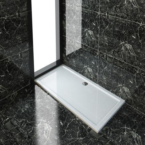ELEGANT 1700x800x40mm Ultra- Slim Stone Resin Rectangle Shower Tray + 90mm Waste