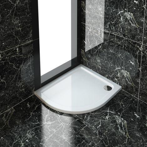 Elegant Ultra-Slim 900x760mm Left Offset Quadrant Shower Tray + 90mm Waste