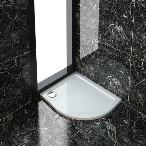 ELEGANT Ultra-Slim 900x760 Right Position Offset Quadrant Shower Tray + 90mm Waste