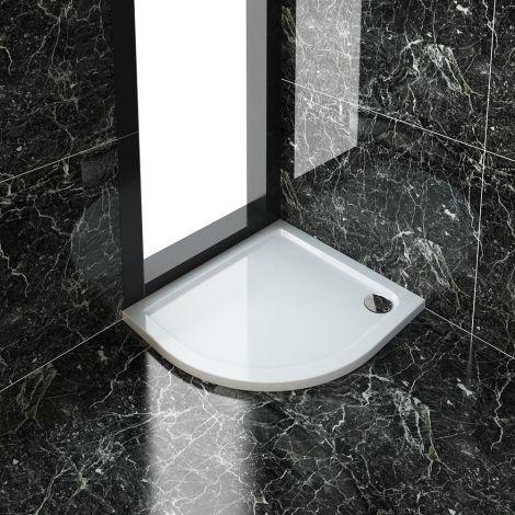 ELEGANT 900X800mm Ultra - Slim Left Hand Offset Quadrant Shower Tray + 90mm Waste