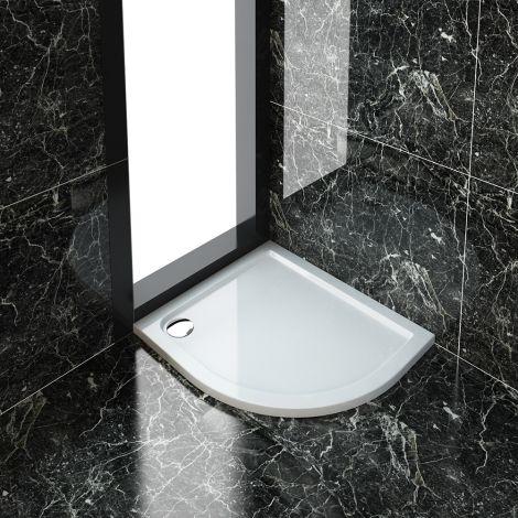 Elegant 900X800mm Ultra - Slim Stone Resin Offset Quadrant Right Hand Shower Tray + 90mm Waste