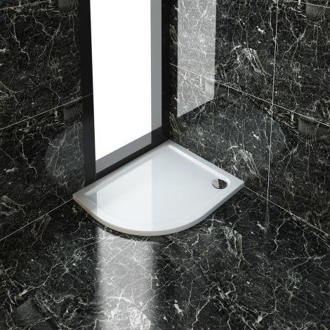 ELEGANT 1000X800mm Left Handed Ultra - Slim Stone Resin Offset Shower Tray + 90mm Waste