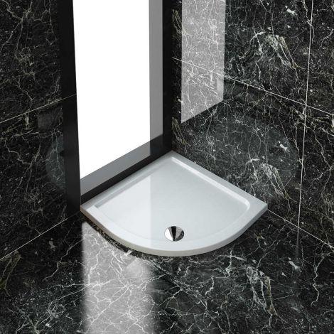 ELEGANT New 40mm Slimline 800 x 800 quadrant shower tray Stone Resin Free Waste