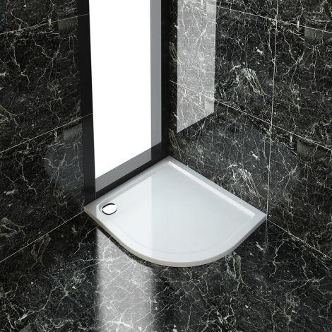 ELEGANT 1000X800mm Right Hand Ultra - Slim Offset Quadrant Shower Tray + 90mm Waste