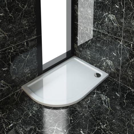 ELEGANT 1200X800mm Left Handed Ultra-Slim Offset Quadrant Shower Tray + 90mm Waste