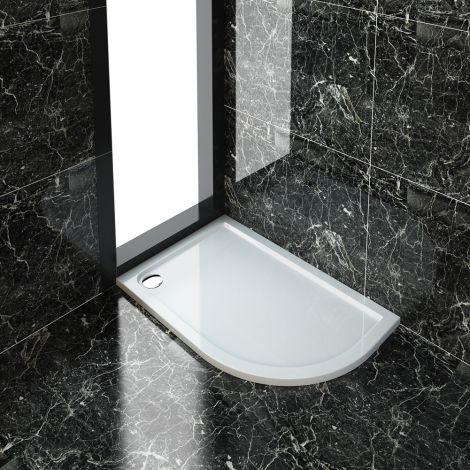 ELEGANT 1200X800mm Right Handed Ultra-Slim Stone Resin Offset Quadrant Shower Tray