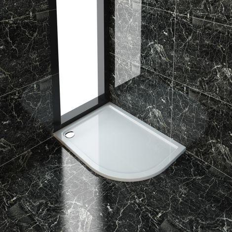 ELEGANT 1200X900mm Right Handed Ultra - Slim Stone Resin Offset Quadrant Shower Tray + 90mm Waste
