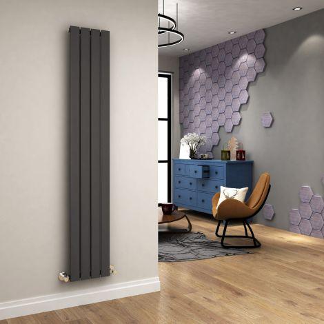 ELEGANT 1800 x 300mm Vertical Column Single Flat Panel Designer Anthracite Radiator