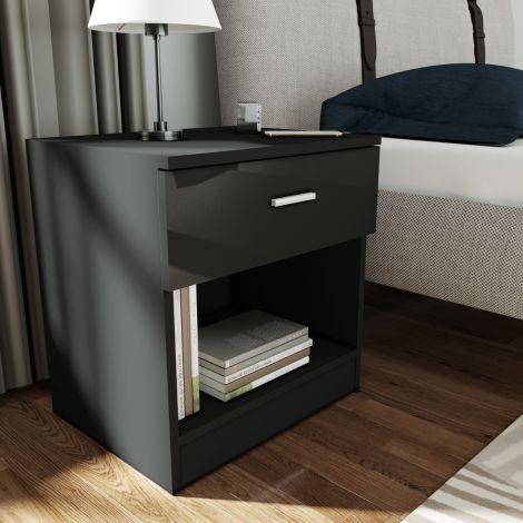 Elegant Gloss Black Cheval Bedside Cabinet