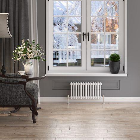 ELEGANT 300x605 Horizontal  White Traditional Cast Iron Style 2 Column Radiator