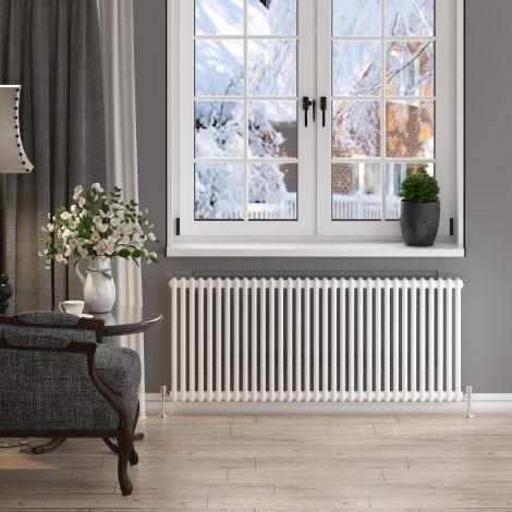 ELEGANT 600x1505mm Horizontal White Traditional Cast Iron Style 2 Column Radiator