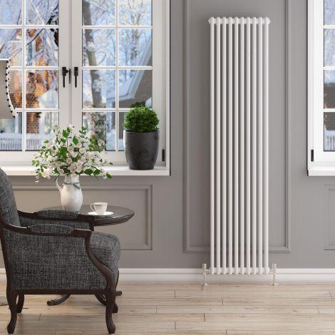 ELEGANT 1800x470mm Vertical White Traditional Cast Iron Style 2 Column Radiator