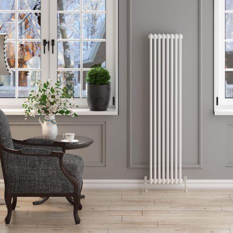 ELEGANT 1500x372mm Vertical White Traditional Cast Iron Style 2 Column Radiator