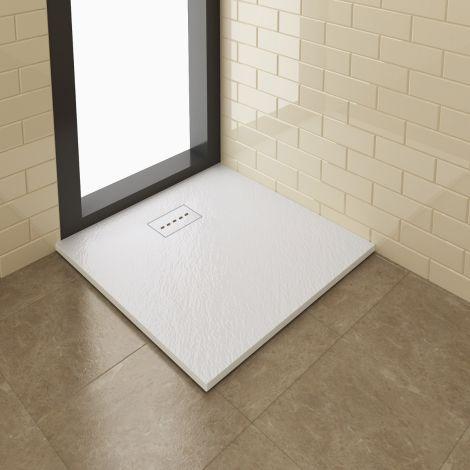 ELEGANT 1000x700mm Stone Grate Slate Effect Anti-Slip Rectangular Shower Tray + 90mm Waste