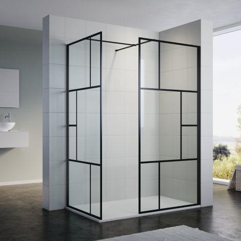 ELEGANT 1200X700x1900mm Walk in Wet Room Shower Enclosure Shower Screen Panel Matt black