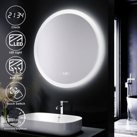 Elegant 600x600mm Round LED ILLUMINATED Anti-fog Bathroom Mirror (Limited Edition)