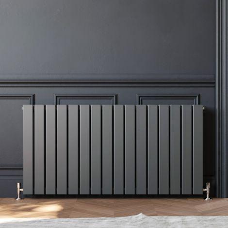 ELEGANT 600 x 1210mm Anthracite Double Flat Panel Horizontal Designer Grey Column Radiators