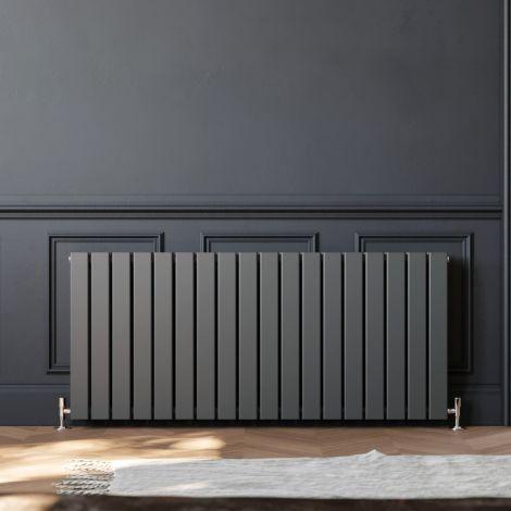 ELEGANT 600 x 1360mm Anthracite Double Flat Panel Horizontal Designer Grey Column Radiators