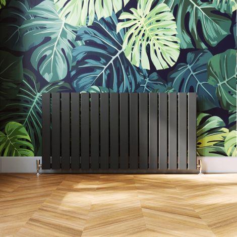 ELEGANT 600 x 1210mm Anthracite Single Flat Panel Horizontal Designer Grey Column Radiators