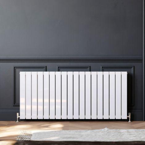 ELEGANT 600 x 1360mm White Double Flat Panel Horizontal Designer Column Radiators