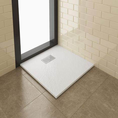 Elegant 900x900mm Slate Effect Anti-Slip Chrome Grate Square Shower Tray + Waste
