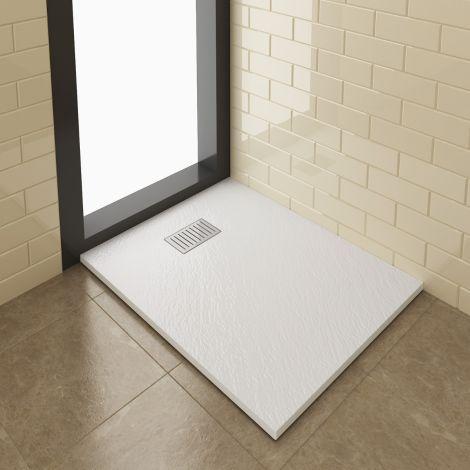 ELEGANT 1000x800mm Steel Stripe Grate Slate Effect Anti-Slip Rectangular Shower Tray + 90mm Waste