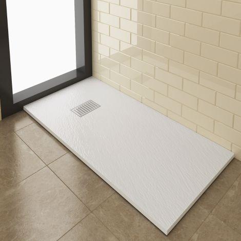 Elegant 1400x800mm Stainless Steel Stripe Grate Slate Effect Anti-Slip Rectangle Shower Tray + 90mm Waste