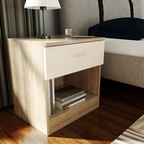 Elegant Scandinavia White & Oak Effect Bedside Cabinet
