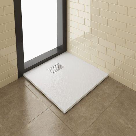 Elegant 800x800mm Slate Effect Chrome Grate Square Shower Tray + Waste