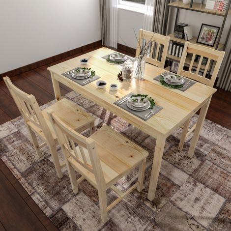 Elegant Contemporary Solid Pine Wood White Kitchen Dining Table & 4 Chairs