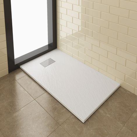 Elegant 1200x800mm Stainless Steel Cube Grate Slate Effect Anti-Slip Rectangle Shower Tray + 90mm Waste