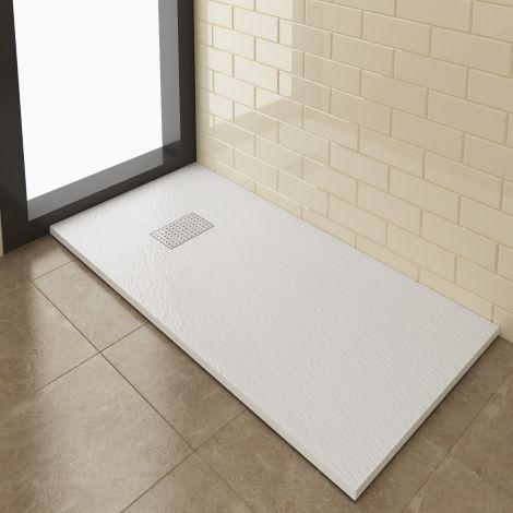 Elegant 1400x800mm Stainless Steel Cube Grate Slate Effect Anti-Slip Rectangle Shower Tray + 90mm Waste