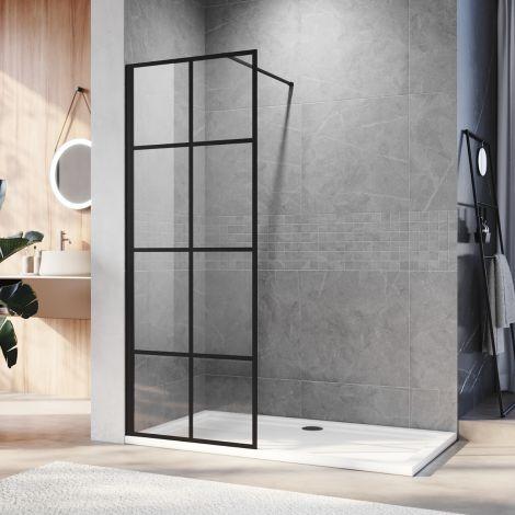 ELEGANT 700x1850mm Walk in Wet Room Shower Enclosure Shower Screen Panel Matt black