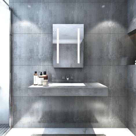 ELEGANT LED illuminated Modern Bathroom Mirror Cabinet Storage 500x700mm IP44