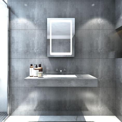 ELEGANT LED illuminated Bathroom Mirror Cabinet Storage 500x700mm IP44 Infrared Sensor